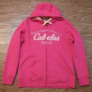*Cabala's Hot Pink Full Zip Up Hoodie Sweatjacket*